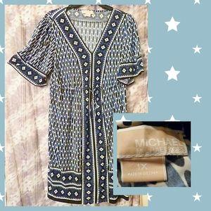 MICHEAL Micheal Kors Blue & White Midi Dress 1X